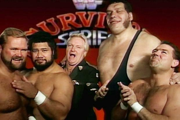 Members of the Heenan Family: Andre the Giant, Arn Anderson, King Haku, and Tully Blanchard.