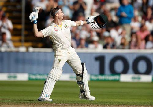 Steve Smith celebrates his hundred against England