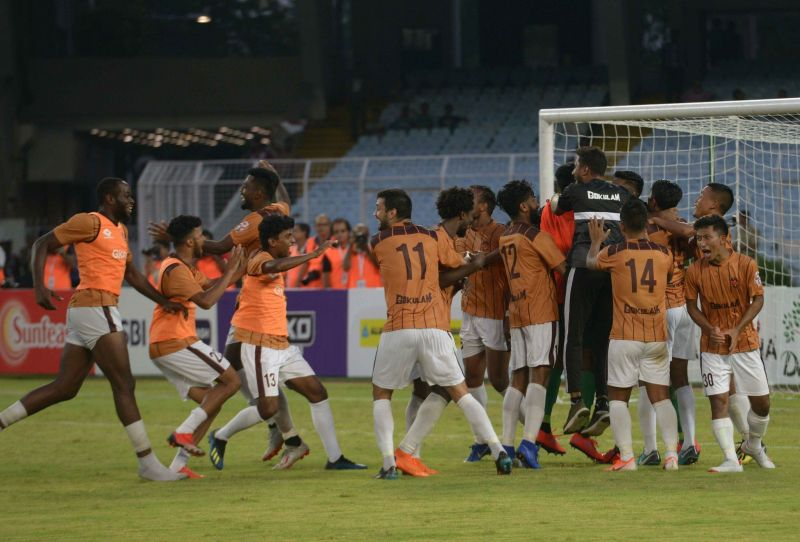 Gokulam Kerala celebrating after winning the final