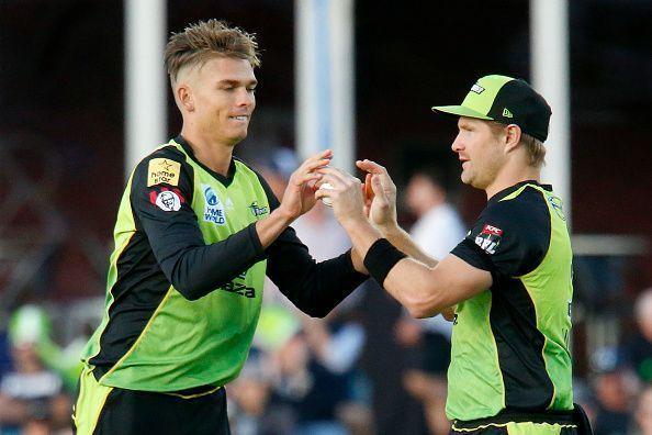 Chris Green celebrates a wicket