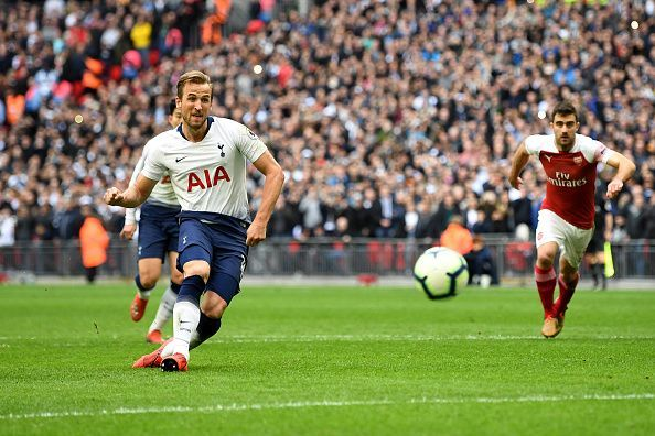 Kane has scored plenty of goals against Arsenal, including this penalty last season