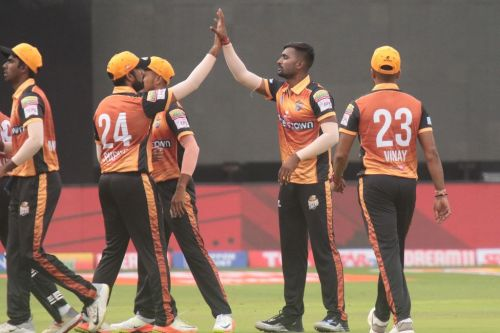 Mitrakanth Yadav finished with figures of 2/6 from two overs