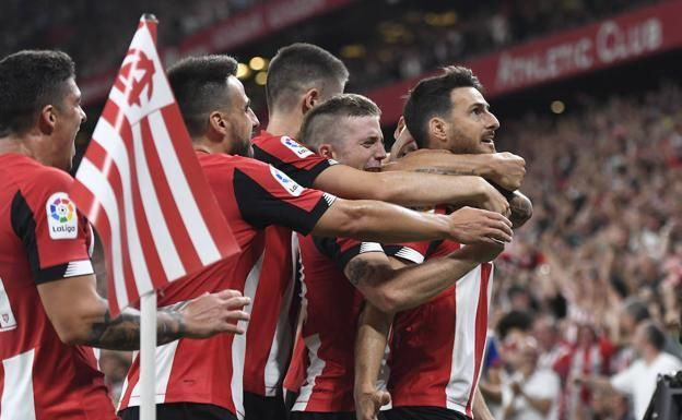 Aduriz celebrates with his teammates after an excellent matchwinner late on against Barcelona
