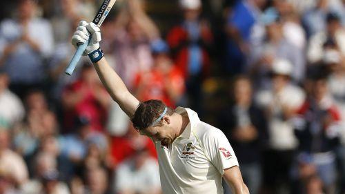 Steve Smith celebrates making a century against England