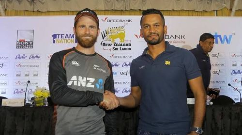 Kane Williamson and Dimuth Karunaratne address the media ahead of the DFCC Bank series.