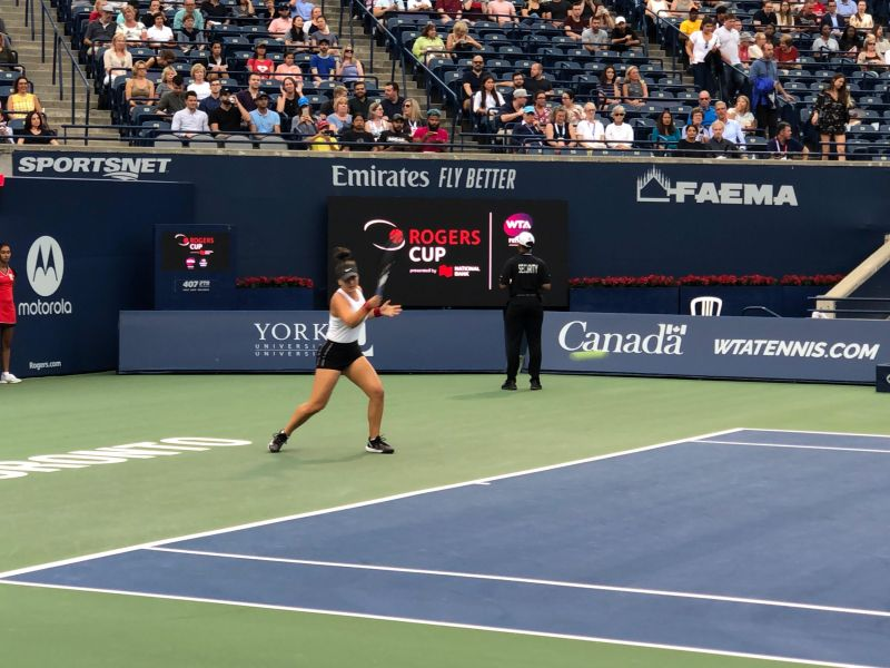 Bianca Andreescu in action at the Rogers Cup on Tuesday (Original picture taken by the writer)