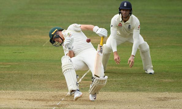Marnus Labuschagne struck flush on the grill by a menacing short delivery by Jofra Archer.