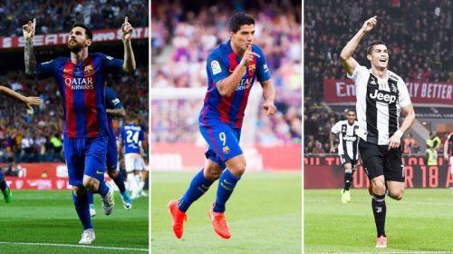 Lionel Messi, Luis Suarez, and Cristiano Ronaldo