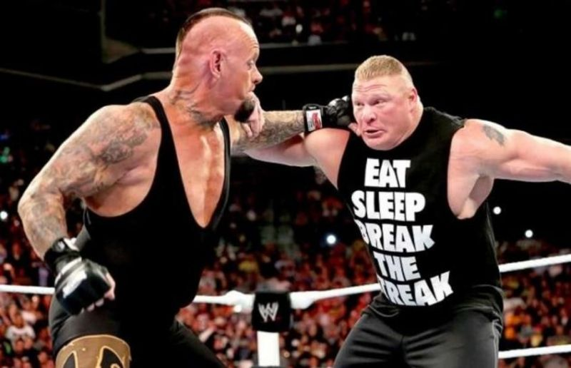 The Undertaker and Lesnar get into a brawl