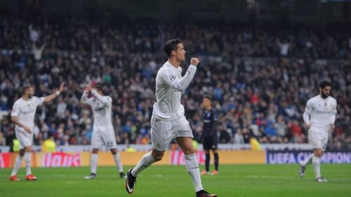 Ronaldo takes the applause during his only four-goal haul in a Champions League game, against Malmo
