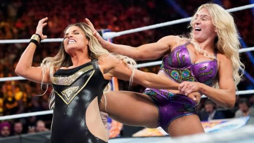 The Queen, Charlotte Flair defeated Trish Stratus in the Canadian's final match, in her home town of Toronto