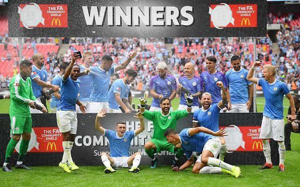 Manchester City celebrate their FA Community Shield win