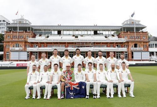 The Australian cricket team posing for a team photoshoot