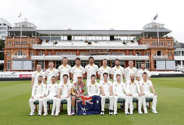 The Australian cricket team posing for a team photoshoot