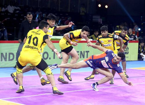 Bengal Warriors' Mohammad Nabibakhsh is seen in action against the Telugu Titans