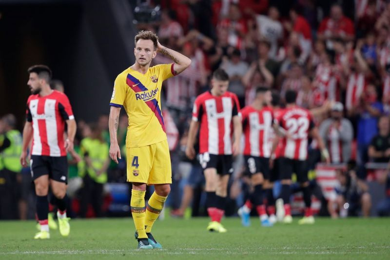 Ivan Rakitic reacts after Aduriz stuns Barca late on to claim all three points on a memorable opening night