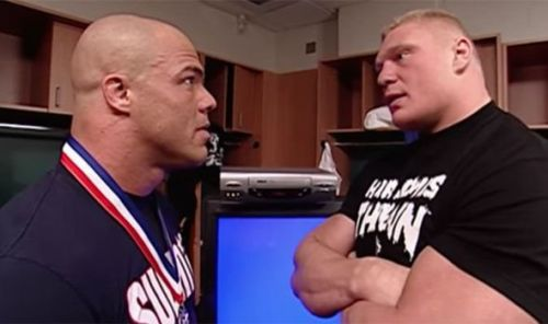 Kurt Angle being confronted by Brock Lesnar backstage in WWE