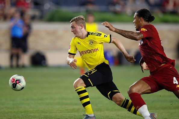Julian Brandt scored on his Bundesliga debut for Borussia Dortmund