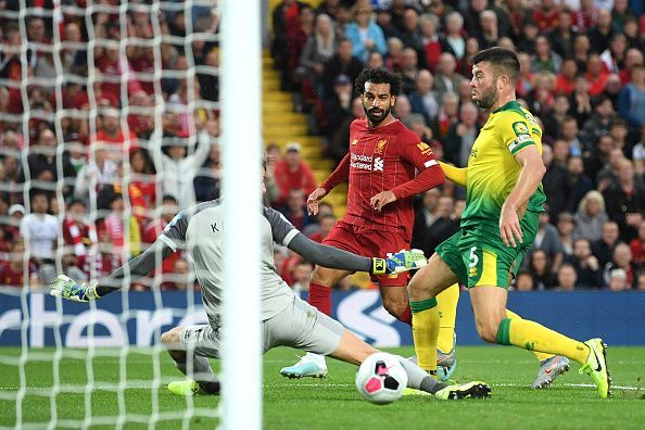 Salah scores against Norwich.