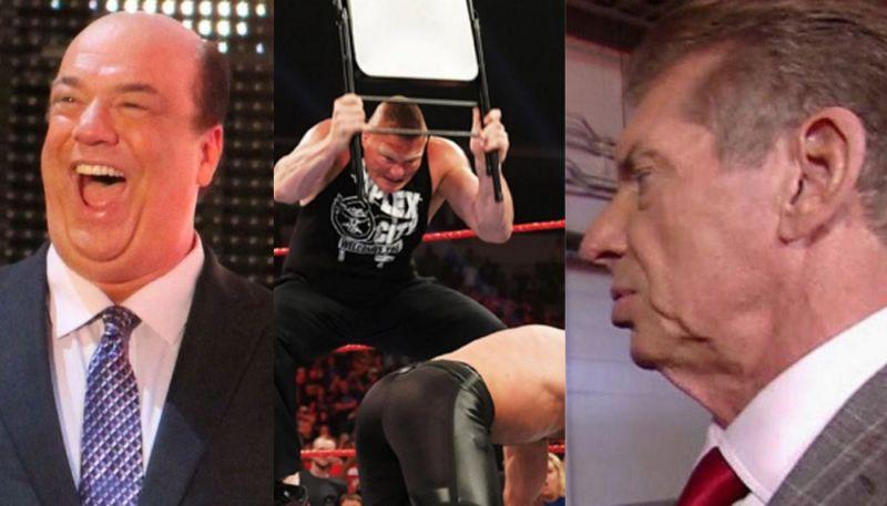 Paul Heyman; Brock Lesnar and Seth Rollins; Vince McMahon