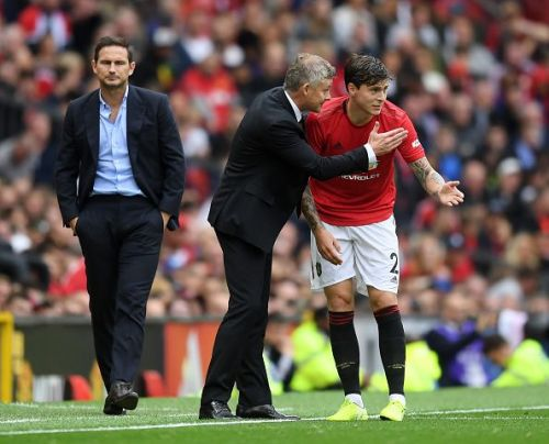 Ole Gunnar Solskjaer giving Victor Lindelof instructions during their win over Chelsea last weekend