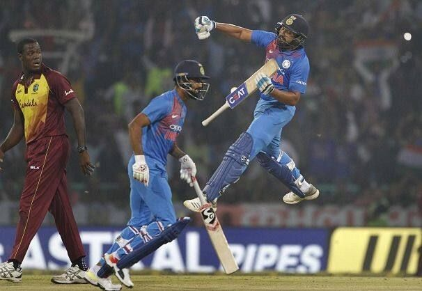 Rohit scored his record 4th T20I Century against West Indies