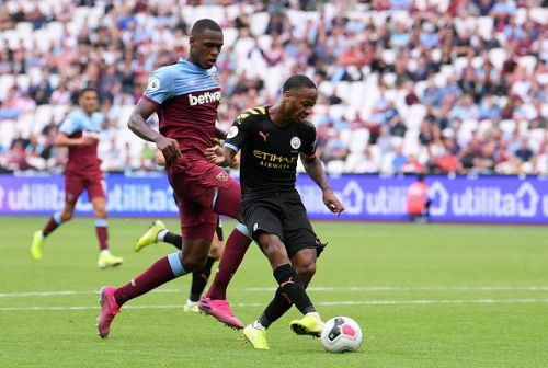 Raheem Sterling shapes up to shoot.