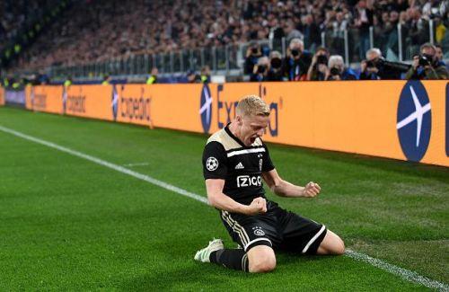 Van de Beek celebrates after scoring for Ajax in the UEFA Champions League Quarter Final: Second Leg