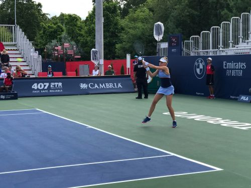Dayana Yastremska in action in her second-round match at the Rogers Cup