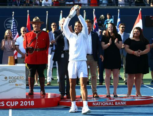 Nadal celebrates his 4th Rogers Cup title after beating Stefanos Tsitsipas in the 2018 final in Toronto