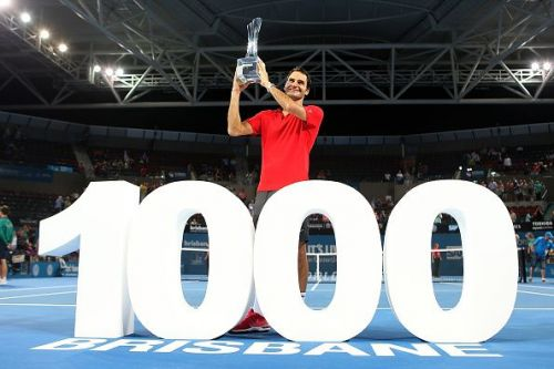 Federer celebrates his 1000th singles match win and his 83rd title at 2015 Brisbane Open