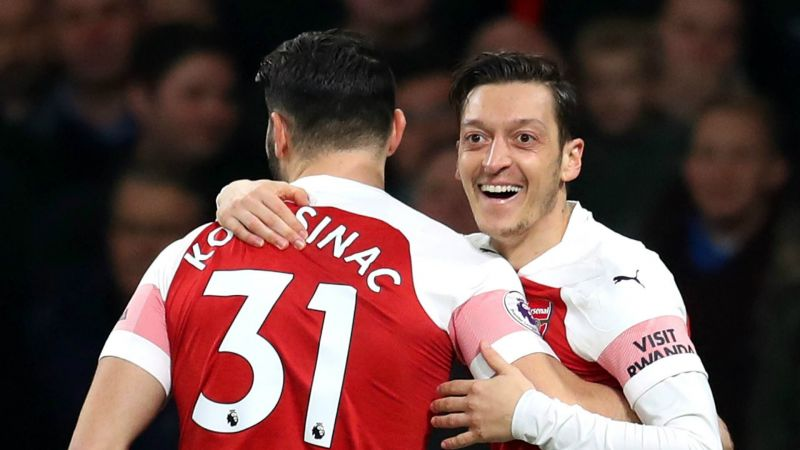 Sead Kolasinac and Mesut Ozil in action for Arsenal