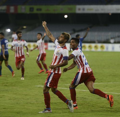 Parbir Das celebrate after scoring the equaliser