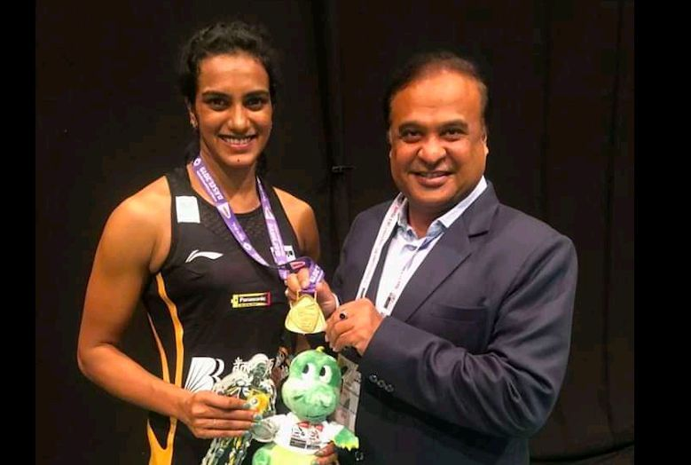 World Champion PV Sindhu with BAI President Himanta Biswa