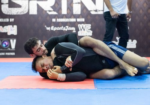 Rachit Tyagi of Crosstrain Fight Club dominates his opponent on the mats at GRIND 3.