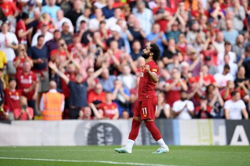 Mohamed Salah celebrates as he netted a well-taken brace during Liverpool's 3-1 win over Arsenal
