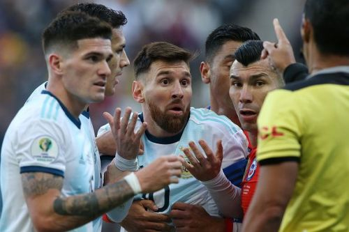 Lionel Messi remonstrates with the referee  during the Copa America.