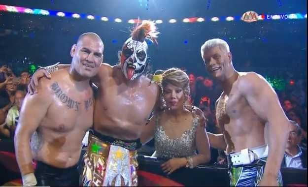 Cain Velasquez (far left) and Cody Rhodes (far right) stole the show at AAA