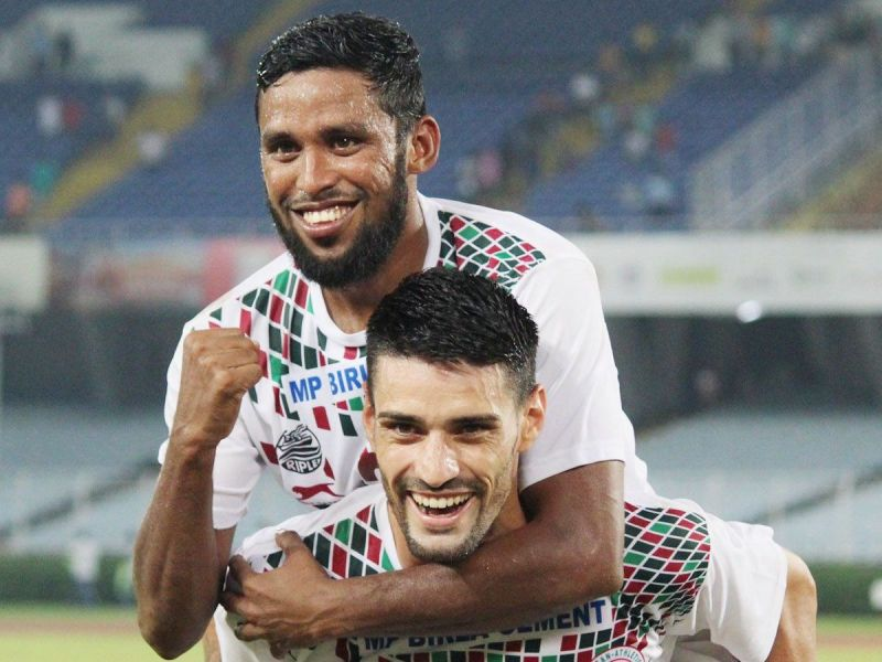 Mohun Bagan forwards celebrating the first goal