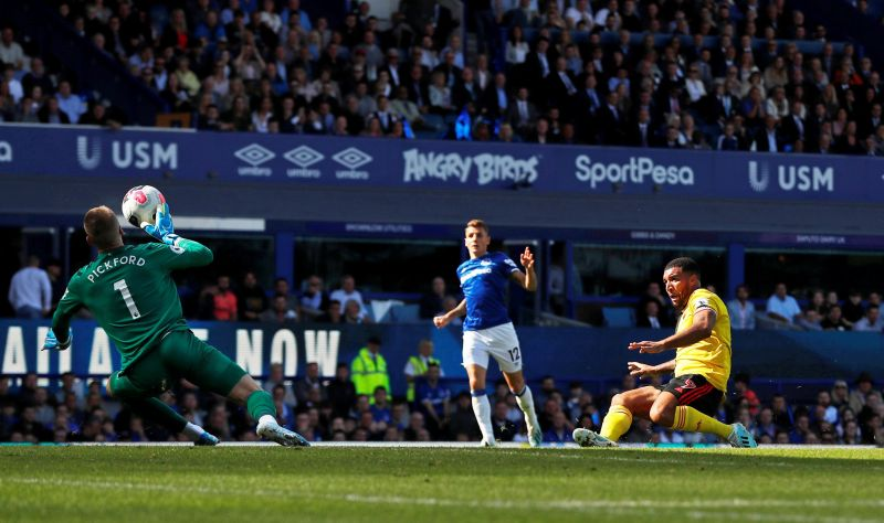 Deeney forced Pickford into a point-blank save after an excellent Deulofeu pass. (Picture source: BBC)