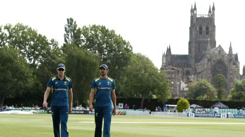 Australia bowlers John Hazlewood (left) and Mitchell Starc