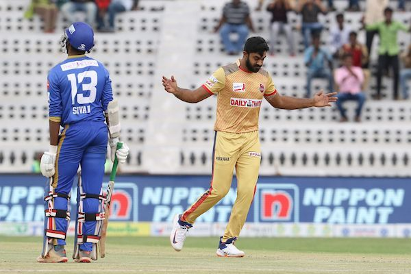 Vijay Shankar of Chepauk Super Gillies celebrates the wicket of Akash Sivan .S. Of Tuti Patriots during match 27 of the fourth edition of Tamil Nadu Premier League 2019