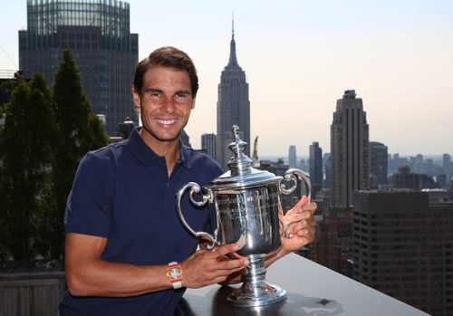 2017 US Open Champion Rafael Nadal poses with his trophy