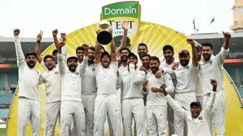 Team India pose with the Border-Gavaskar Trophy after their historic win Down Under