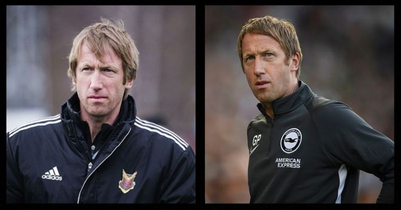 Potter (left) during his time at Ostersunds, Potter (right) v Watford
