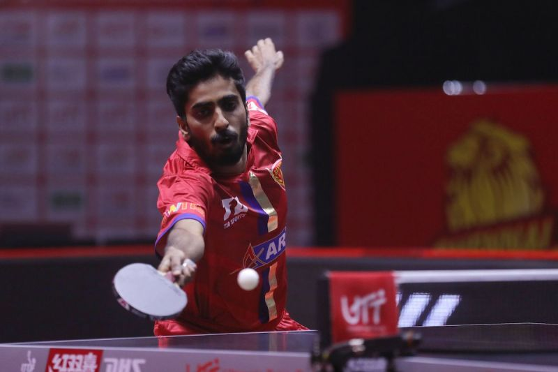 Sathiyan G is seen in action