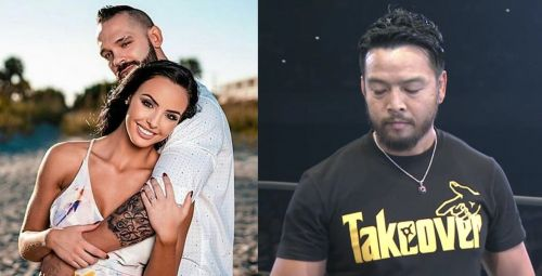 Tye Dillinger (Shawn Spears) with Peyton Royce and Hideo Itami (KENTA)
