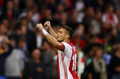 Dušan Tadić celebrating after Ajax beat PAOK in the 3rd qualifying round of the Champions League