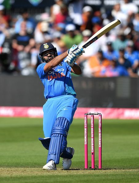 Rohit Sharma hitting one of his trademark sixes