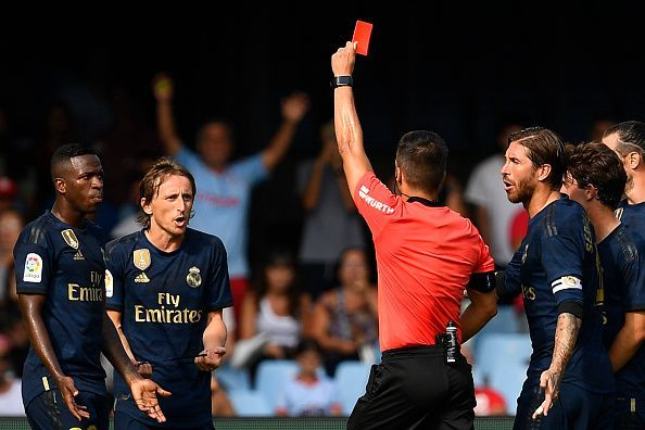 Luka Modric was sent off in Real Madrid